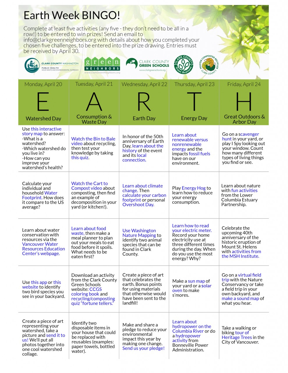 Join us for Earth Week Bingo!