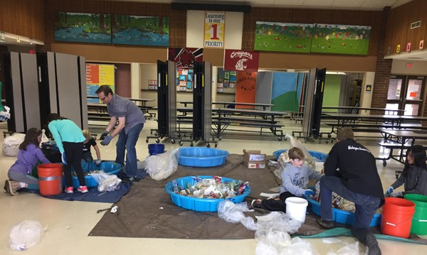 Students and teachers at Hockinson Heights Elementary do a waste audit