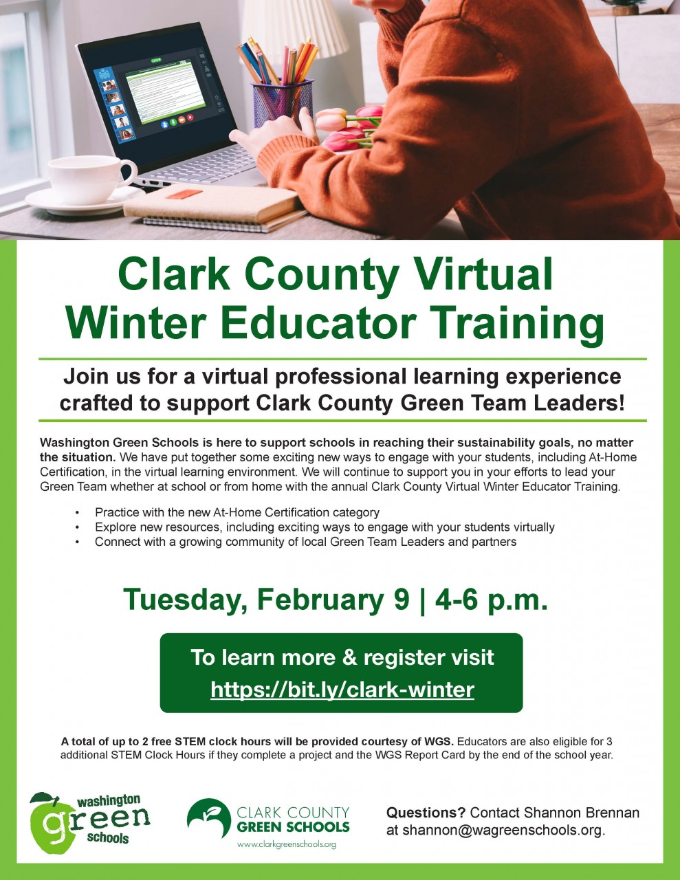 Support and training is coming up - virtual check-ins and Washington Green Schools Winter Training - register now!
