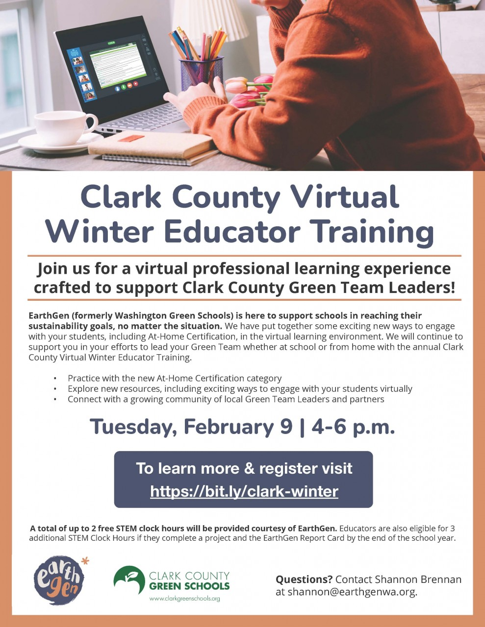 EarthGen (formerly Washington Green Schools) virtual winter training - February 9 - register now